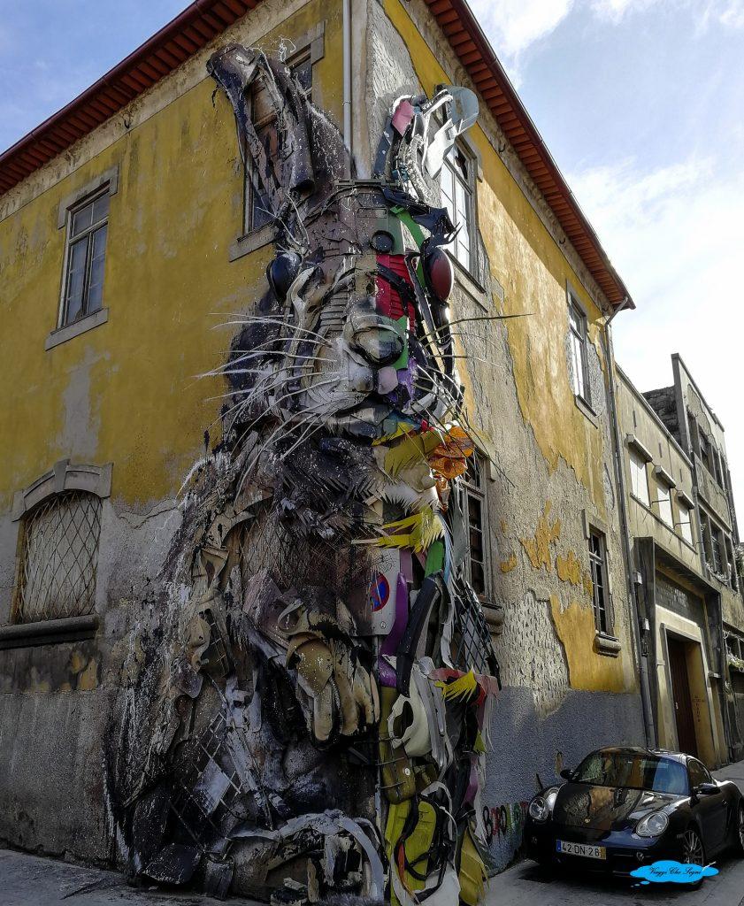 urban art half rabbit