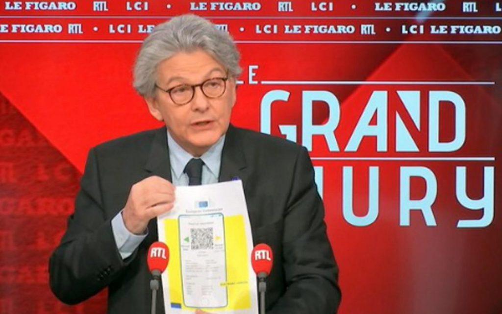 presentazione passaporto vaccinale da parte di thierry Breton